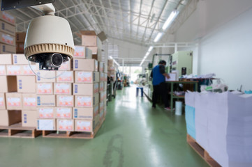 CCTV Camera Operating inside warehouse or factory