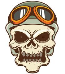 Vector illustration of Skull wearing helmet