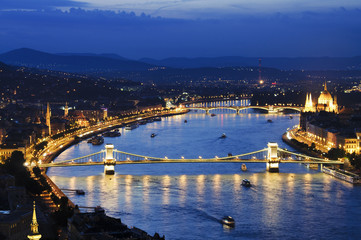 Budapest by night with Szechenyi chain bridge