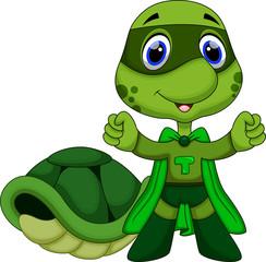 Cute super turtle cartoon