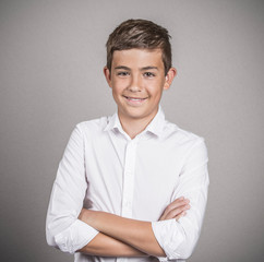 Happy confident young man, teenager white background