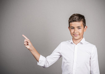 Portrait Young man pointing presenting copy space advertisement