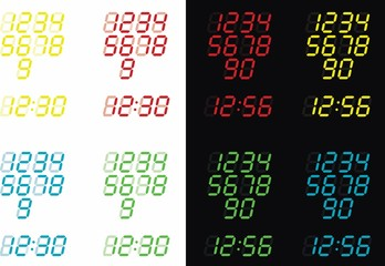 Illustrated Digital Clock in Various Colours