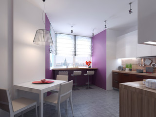Kitchen interior in the style of constructivism