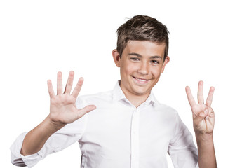 Happy teenager showing eight fingers, number 8 gesture
