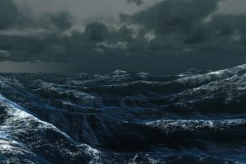 Fototapeta Rough blue ocean under dark sky obraz