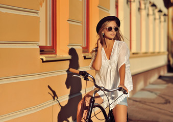 Beautiful blonde on a bicycle