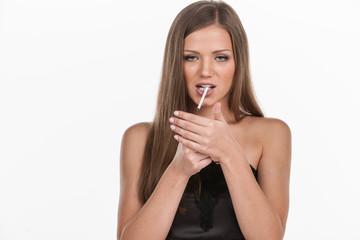 young beautiful girl smoking cigarette.