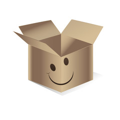 moving carton smiling