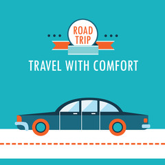 Car on the road flat design background template