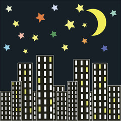night city, Silhouette of the city and night with stars and moon