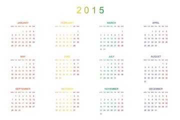 Calendar Illustration for the year of 2015