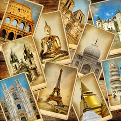 Fotomurales - world' landmarks - vintage collage.travel consepts