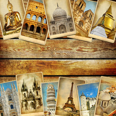 Fototapete - vintage collage - travel background with space for text