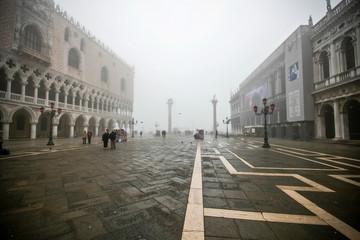 misty street view in venice