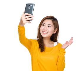 Woman take selfie