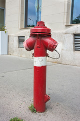 Fire hydrant with two hose outlet on an urban street