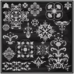 vector  vintage white floral   design elements on the blackboard