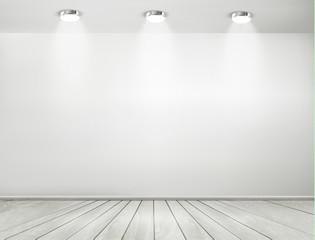 Grey room spotlights and wooden floor. Showroom concept. Vector.