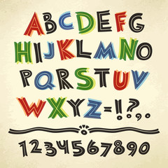 Cartoon Retro Font Colorful on Paper Background