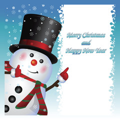 Card, Snowman wearing, vector