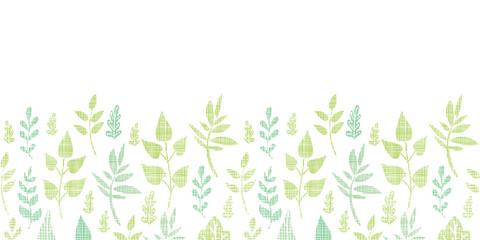 Textile textured spring leaves horizontal border seamless