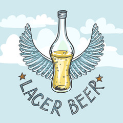 Lager Beer On Sky Background