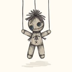 Spooky Voodoo Doll In A Sketch Style