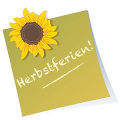 Herbstferien - Post-it - Sonnenblume