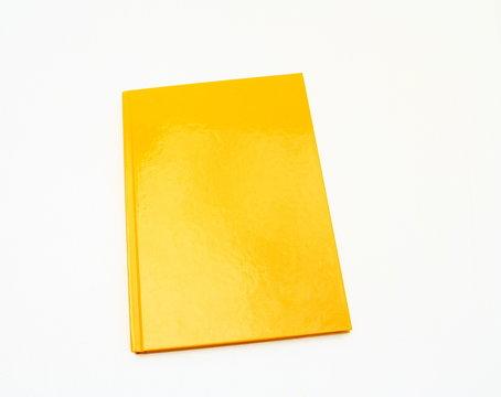 carnet bloc-note orange,isolé sur fond blanc