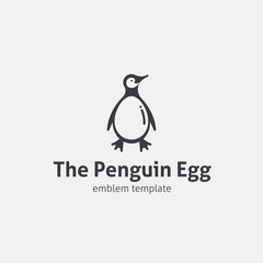 Penguin Egg Vector Concept Symbol Icon or Logo Template