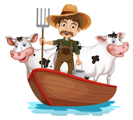 A boat with a man and two cows