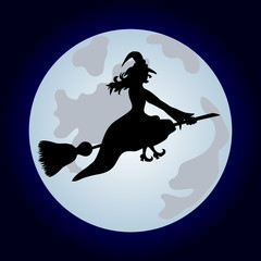 Halloween banner .The witch on a sweeper.