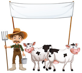 A farmer and his cows near the empty banner