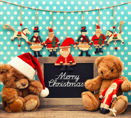 nostalgic home christmas decoration with antique toys
