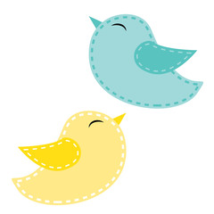 Two cute birds, blue and yellow
