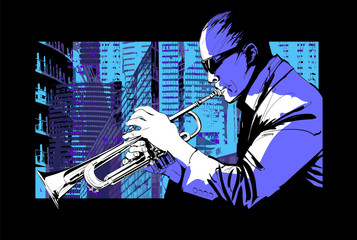 Etiqueta Engomada - Jazz trumpet player over a city background