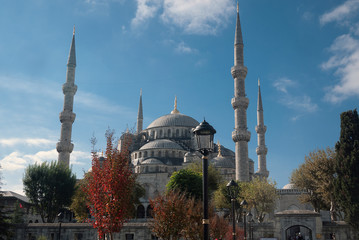 The Blue Mosque (Sultanahmet) in Istanbul, Turkey on a clear day
