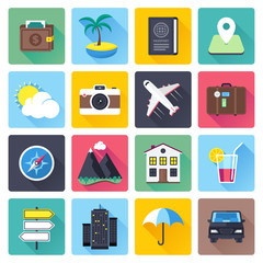 Travel and vacation themed vector icon illustrations