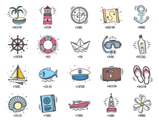 Doodle marine and vacation icon set