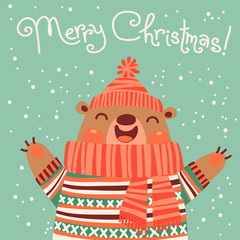 Christmas card with a cute brown bear.