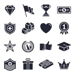 Monochrome awards and achievements illustrations