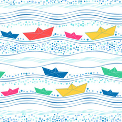 Seamless pattern with multicolored paper ships