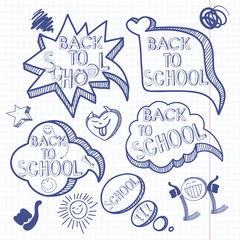 Back to school. Doodle background with set of hand drawn speech