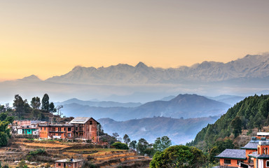 Photo sur cadre textile Népal Bandipur village in Nepal, HDR photography