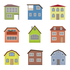 Colourful home icon collection