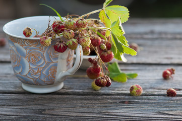Wild strawberries  in the cup on the wooden backgraund