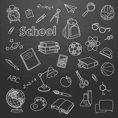 School doodle on a blackboard vector background