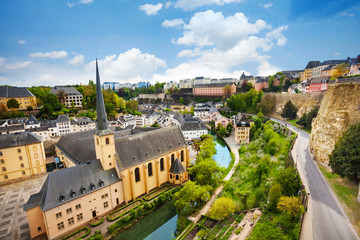 Wall Mural - Top view of Abbey de Neumunster in Luxembourg