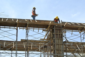 Construction Workers Installing Ground Beam Formwork